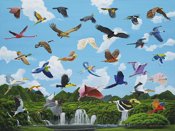 """""""Birds Not Of A Feather Flocking Together."""" - Artist Michael Phillips"""