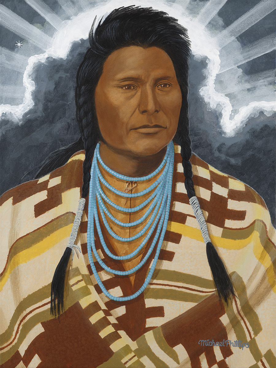 "Chief Joseph of the Nez Perce people. A brave warrior and wise leader who after fighting the white settlers and military for many years. After being captured and forced to live on the reservation he still fought legal battles to get a better life for his people. He is famous for his speech ""I will fight no more forever."""