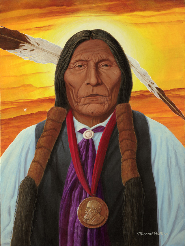 Wolf Robe of the Southern Cheyenne people. He was a chief in 1864 when a group of peaceful Cheyenne were massacred by U.S. Military forces at Sand Creek, Colorado. As a result of the massacre the Cheyenne joined the Sioux and defeated Custer at the Battle of the Little Bighorn. In this portrait he is wearing the Benjamin Harrison Peace Medal for his later efforts for peace.