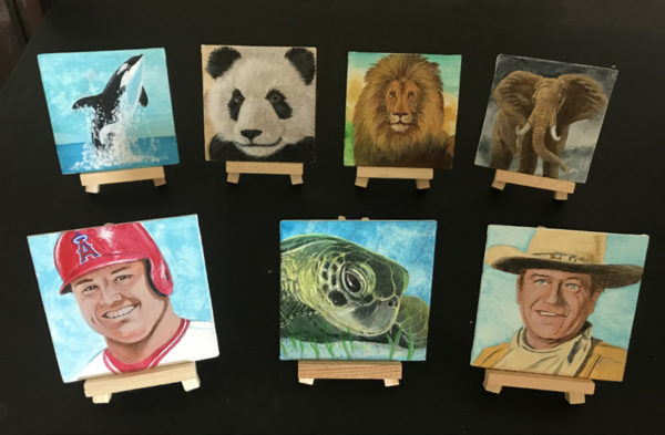 Mini Paintings on canvas with easel.