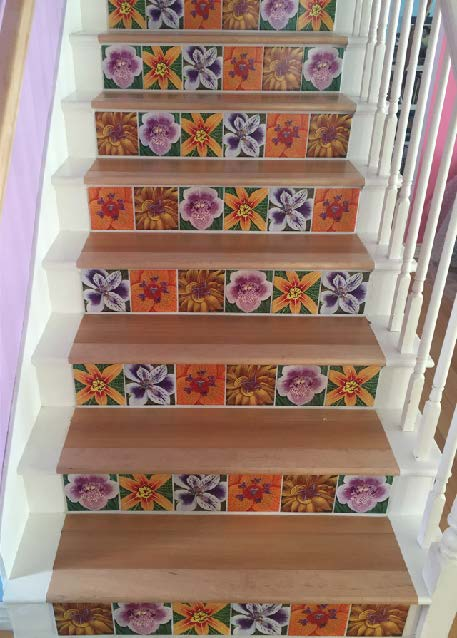 Staircase steps with 6 x 6 tiles